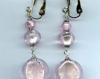Pink Chunky Clip on Earrings