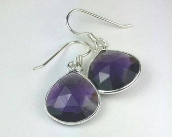 Purple Amethyst Earrings, Sterling Silver Amethyst Earrings,  February Birthstone, Purple Drop Earrings, Maggie McMane Designs