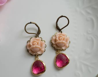 Spring Flowers Nature Garden Woodlands Inspired Dusty Pink Roses Modern Floral Earrings. Pink Glass Teardrops Antiqued Brass earrings