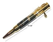 Hand Turned MINI 30 Caliber Bolt Action Ball Point Pen FOREST CAMO Gold