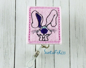 Funny Bunny Felt Badge Holder with Retractable Badge Reel handmade by SantaFekiss