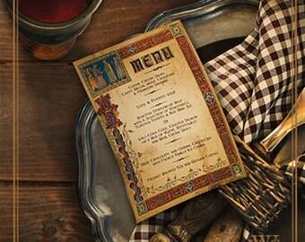 Medieval Wedding Or Feast Table Menus