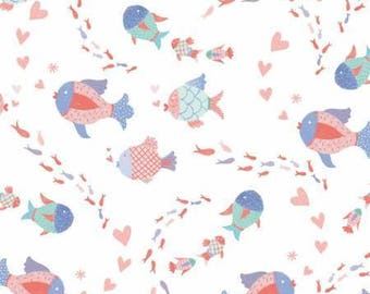 Mermaid Dreams -Fish - Studio E - Nautical Fabric - Coral- Blue- Aqua- Ocean- Sea-Cotton Fabric- By the yard- By the half.