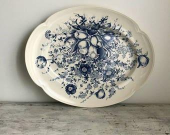 """Vintage Johnson Brothers Windsor Ware Dover blue & white large 16"""" oval serving platter"""