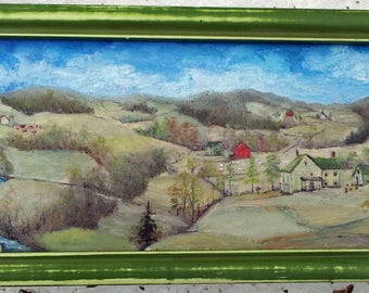 Folk Art Oil Painting  3.5 x 10 inches, very detailed, colorful