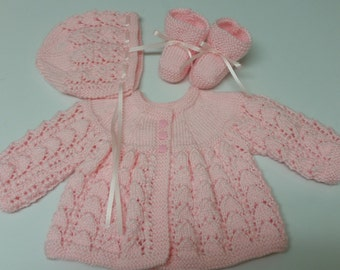 Baby Sweater Set, Baby Girl, Hand Knitted Sweater Bonnet Booties, Pink, 0-3 months Baby Girl, Reborn Doll, Shower Gift, Christening, Baptism