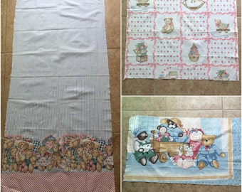 Country Bears Nursery Quilters Fabric Remnants Panels