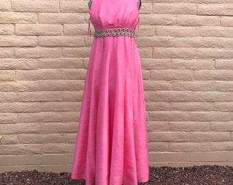Vintage Emma Domb Pink 60s Retro Party Dress Prom Formal Sz S