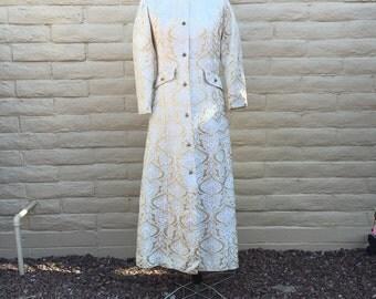 Vintage Adele Simpson Gold Jacquard Coat Robe 60s Glam Sz S