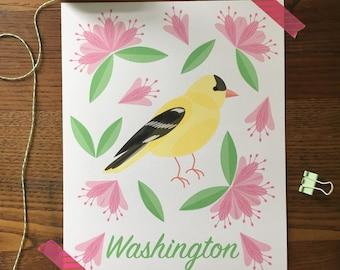 Washington Art. Gold Finch. Bird Art print. State Themed Art. Home Decor. State Flower. State Bird. Rhododendron. Bird Lover. Nature Lover.