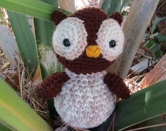 Amigurumi Owl.  Brown & Tan Plush Owl.  Stuffed Toy Owl. Plush Owl. Crochet Bird. Kawaii Crochet Owl. Gift for Kids. Woodland Plush Owl