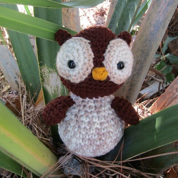 Amigurumi Owl Beak : Amigurumi Owl. Brown & Tan Plush Owl. Stuffed Toy Owl. Plush
