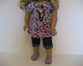 18 Inch Doll Clothes - Butterfly Top Outfit made to fit dolls such as the American Girl and Maplelea doll clothes