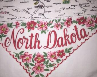 Vintage North Dakota Hanky - Hankie Handkerchief