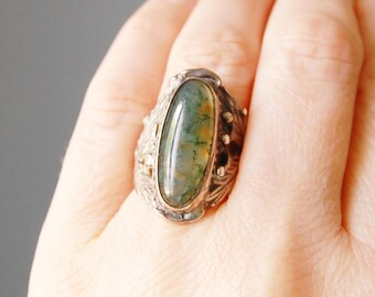 Vintage Sterling Silver Ring with Oblong Moss Agate Stone Art Nouveau Boho Chic