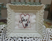Hand Stitched, Valentine Heart Love Stitchery, White French Country Frame