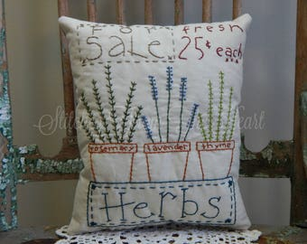 Decorative Spring Pillow, Hand Stitched Pillow, Herbs, Gardener, Lavender, Rosemary, Thyme