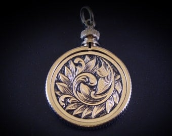 Art Nouveau Inspired Hand Engraved Hobo Nickel Pendant