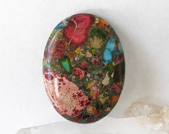 Large Sea Sediment Jasper Mixed Impression 40mm by 30mm Focal Bead For Jewelry Making