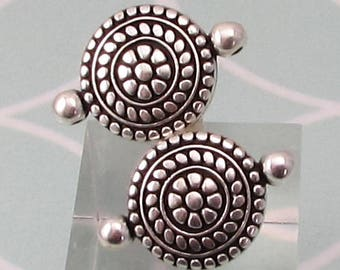 Boho Ethnic Connector, 2 Loops, Antique Silver, 2 Pieces, AS449