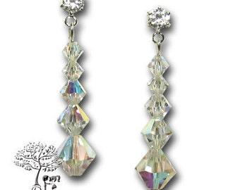 Bridal Crystal Sparkle Swarovski Drops 925 Sterling Silver Earrings