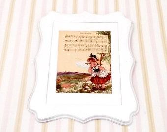 6x8 Vintage 1950's Little Bo Peep Petite Nursery Rhyme  Illustration. Nursery Book Plate Song Print