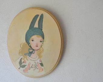 Original Portrait Painting, Original Painting on wood,  Original acrylic painting, oval portrait.