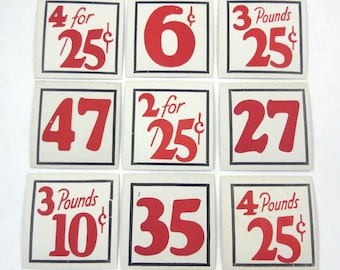 Vintage Set of 9 Store Pricing Tags with Large Red Numbers Lot D