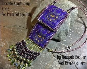 Easy Beading Project - Purple and Olive Amulet or memory stick Ribbon Bag Seed Bead Necklace FULL KIT and INSTRUCTIONS