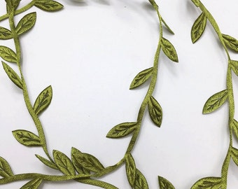 6 yards of Tiny Green Leaves Trim 3 cm 1 1/8 inch