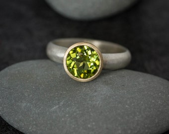 Peridot Yellow Gold Gemstone Ring, Mixed Metal Solitaire Ring, August Birthstone Ring in 925 Argentium Silver
