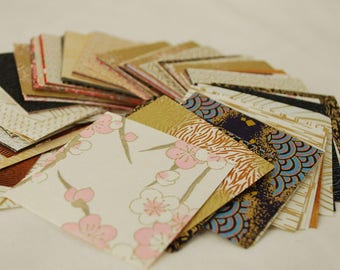 Japanese Finest Yuzen Washi Origami Paper - 200 Sheets Assortment - 6cm - Gold Colour Theme