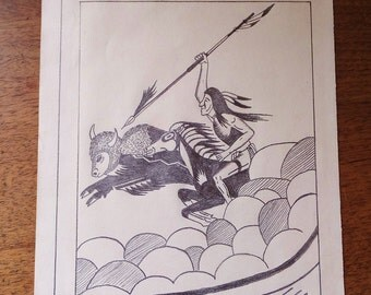 Vintage 1970's Hand Drawn Illustration Buffalo Hunting Native American Drawing Native Folk Art Black & White Vintage Drawing 70's Tribal Art
