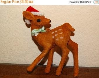 Christmas Reindeer, 1960's Velvet Covered Reindeer, Polka Dots Felt Coverd Rudolph Reindeer, Doe, Antlers, Christmas Decorations, Rudolph