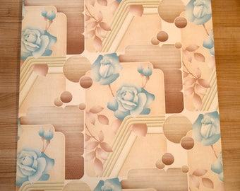 "original European vintage wallpaper ""blue rose"" full roll (old stock)"