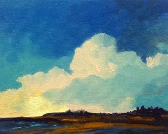 BILLOW, oil painting landscape original oil, 100% charity donation, original painting  5x7 canvas panel, clouds