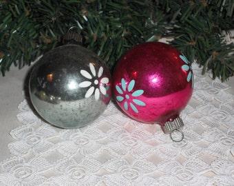 Vintage Christmas Ball Ornaments - Set of 2
