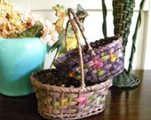 2 Small Antique Baskets Hand Painted Flowers Wooden Bottoms Made in Germany Easter Baskets