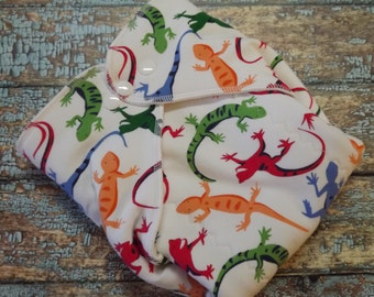 Organic Cotton Winged Prefold Cloth Diaper Primary Lizards