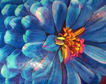Zinnia, in blue, Floral, 16x20 inches, art, original, mixed media photograph #Gina Signore #Blue home decor #Blue flower art #original art