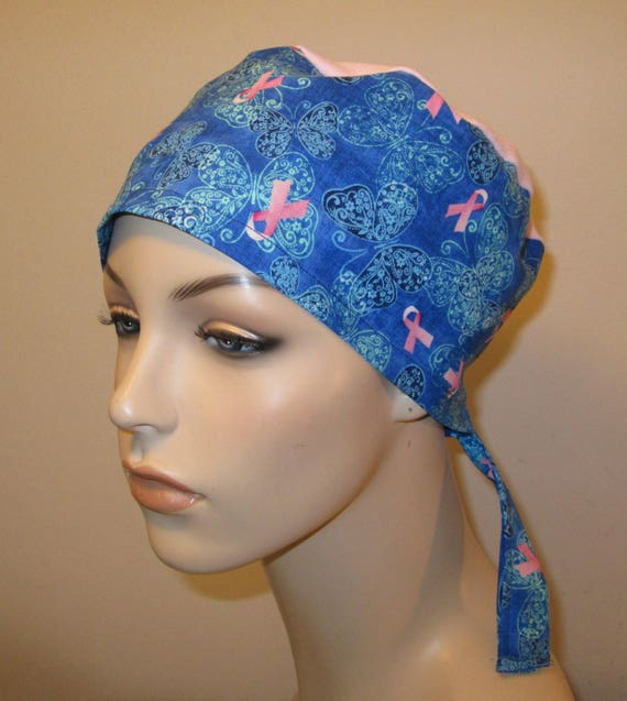 Scrub Cap Breast Cancer Print  OR Cap Nurses Cap Surgical Cap Free Ship USA Adjustable Chemo Hat