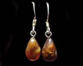 Fire agate french hook dangle earrings