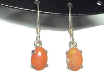 Mexican fire opal french hook dangle earrings