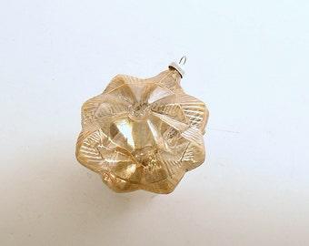Vintage Christmas Ornament Gold Glass Ornament Jewel