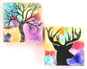 Colorful deer silhouette & tree art set. OOAK