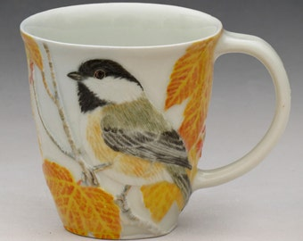 Porcelain mug with Black-capped Chickadee and Autumn Leaves