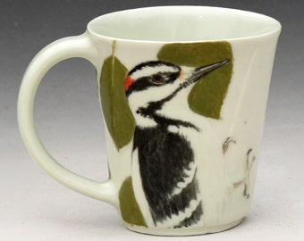 Porcelain Mug with Hairy Woodpecker Carvings