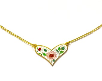 Floral Heart Necklace, Vintage Enamel Heart Necklace, Floral Necklace, White Floral Heart Necklace