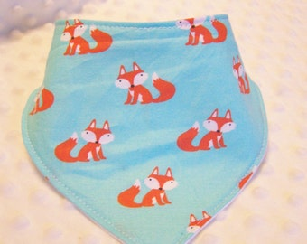 Foxes on Teal Bandana Bib -- Drooler Bib --