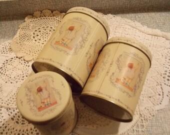 Vintage Girl Nesting Round Tins Charming Storage 3 pc Home Decor Office Sew Craft Room